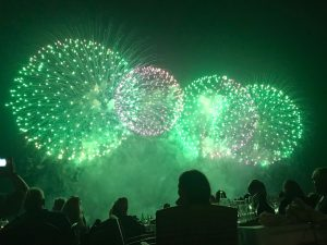 August 2018 Annual Cannes Pyrotechnic Art Festival and Dinner on the Croisette Beach
