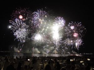 August 2019  Annual Cannes Pyrotechnic Art Festival and dinner on the Croisette Beach